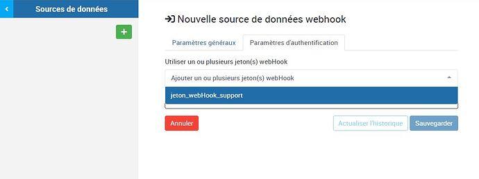 Selection jeton webHook